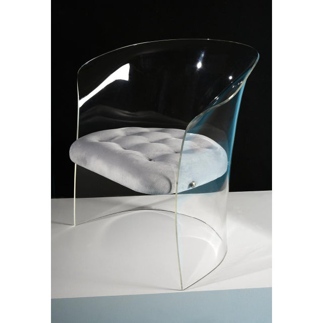 "Formed lucite 'barrel' chair with tufted seat. Made in the USA, circa 1960s. Lucite with newly upholstered ""floating""..."