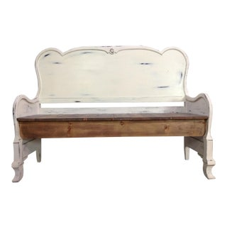 1900s Vintage Painted Headboard Bench For Sale