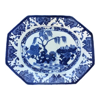 Blue & White Chinoiserie Stoneware Platter For Sale