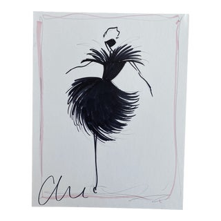 """Black Feather Party Dress"" Original Christian Siriano Sketch For Sale"