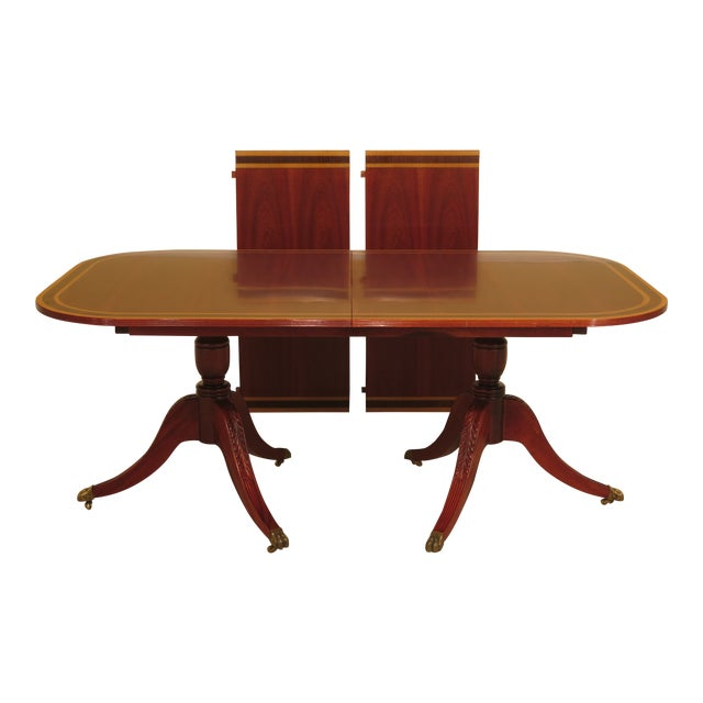 Duncan Phyfe Banded Top Mahogany Dining Room Table