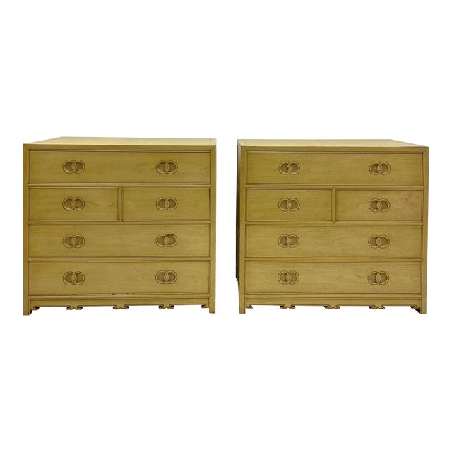 Pair of Asian Modern Michael Taylor for Baker Furniture Chest of Drawers For Sale