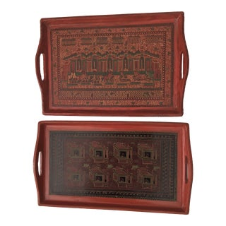 Vintage Indian Lacquered Trays - A Pair