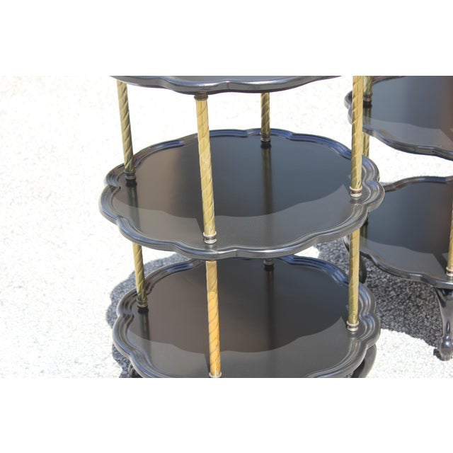 Beautiful Pair of French Louis XV Ebonized Side Table Circa 1910s. For Sale In Miami - Image 6 of 13
