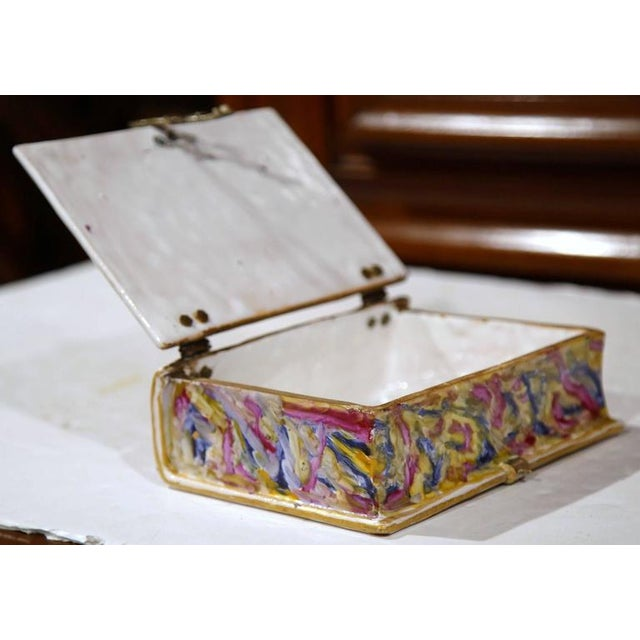 French Book Shaped Porcelain Jewelry Box For Sale - Image 9 of 9
