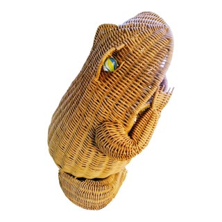 Vintage Wicker Open Mouth Frog Mario Lopez Torres Style Plant Holder Basket For Sale