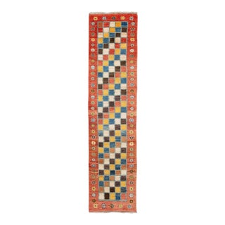 Modern Gabbeh Colorful Persian Handmade Wool Runner For Sale