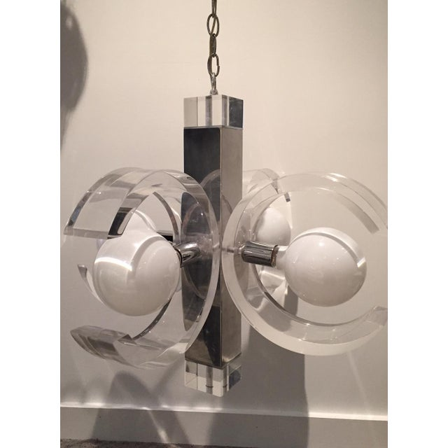 Mid Century Modern Lucite & Chrome Chandelier - Image 2 of 7