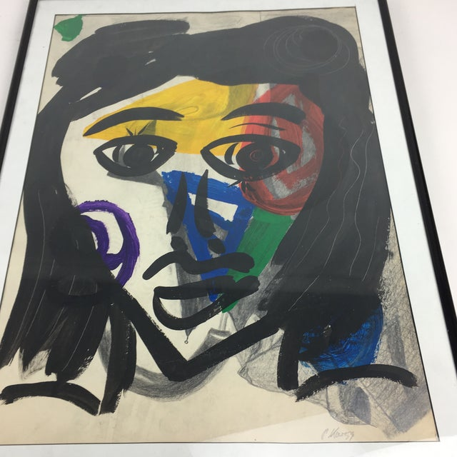 Peter Keil Peter Keil 1959 Colorful Face Abstract Painting For Sale - Image 4 of 8