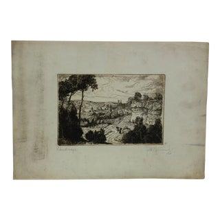 """Vintage Original Engraving on Paper, """"Landscape"""" by Fred Fruant For Sale"""