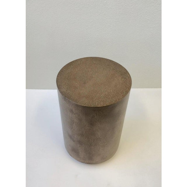 1980s 1980s Bronze and Chrome Drum Table by Steve Chase For Sale - Image 5 of 8