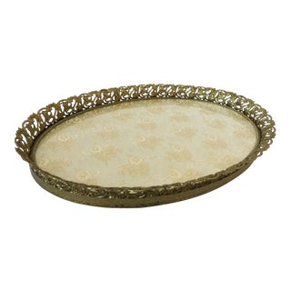 Vtg Hollywood Regency Vanity Oval Tray For Sale