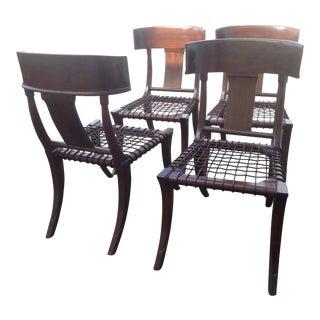 Modern Mid Century Klismos Style Walnut Dining Chairs - Set of 4 For Sale