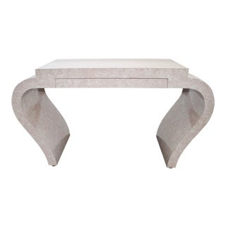 Mid Century Modern Karl Springer Style Waterfall Lacquer Marble Console For Sale