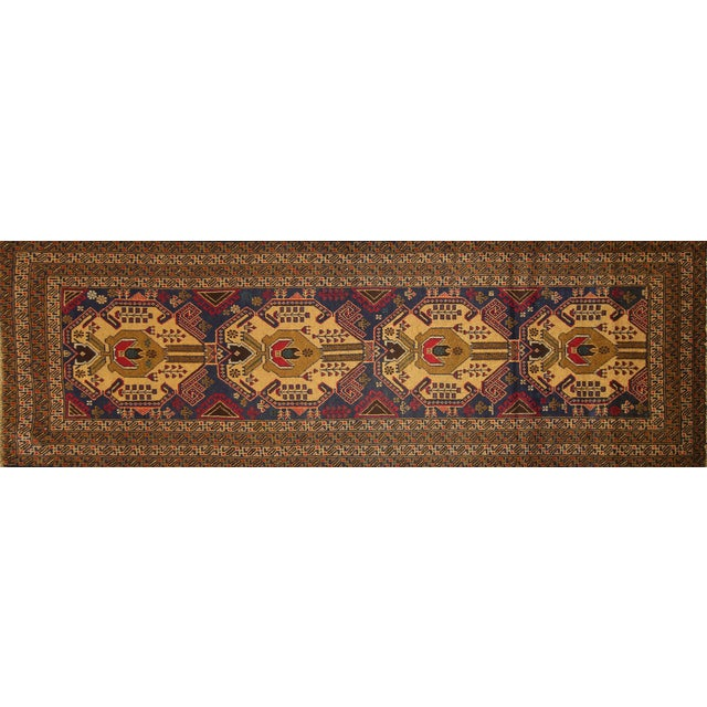 "Navy Blue Tribal Afghan Balouch Rug - 3'1"" x 9'2"" - Image 1 of 8"