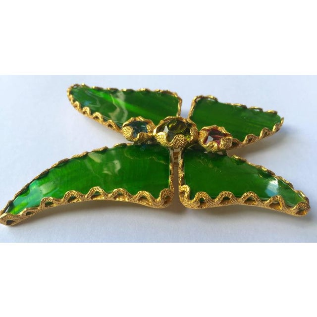 bb388abae4f Yves Saint Laurent Vintage Yves Saint Laurent Green Enamel and Gold  Butterfly Pin Ysl For Sale