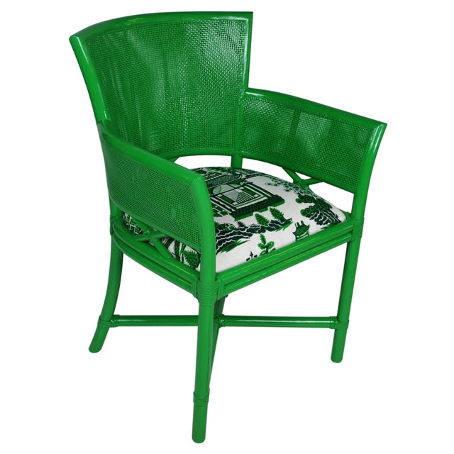 Asian Ficks Reed Green Rattan Armchairs - Set of 4 For Sale - Image 3 of 5