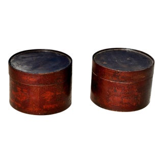 19th Century Chinese Round Hand-Painted Hat Boxes - a Pair For Sale
