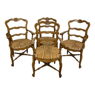 Country French Carved Wood Arm Chairs With Rush Seats - Set of 4 For Sale