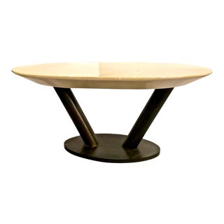 Karl Springer Steel and Lacquered Goatskin Table For Sale