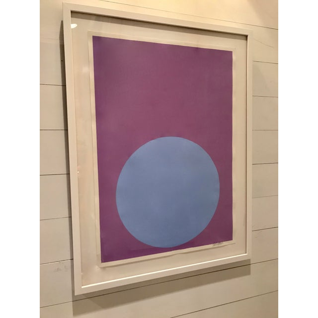 Soft Blue Dot on French Lavender Painting - Image 2 of 4