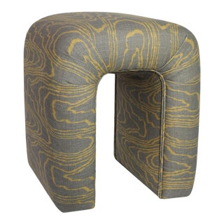"""Vintage Groundworks """"Agate"""" Linen Fully Upholstered Waterfall Stool For Sale"""
