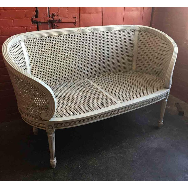 Late 20th Century White Caned Settee For Sale - Image 9 of 10