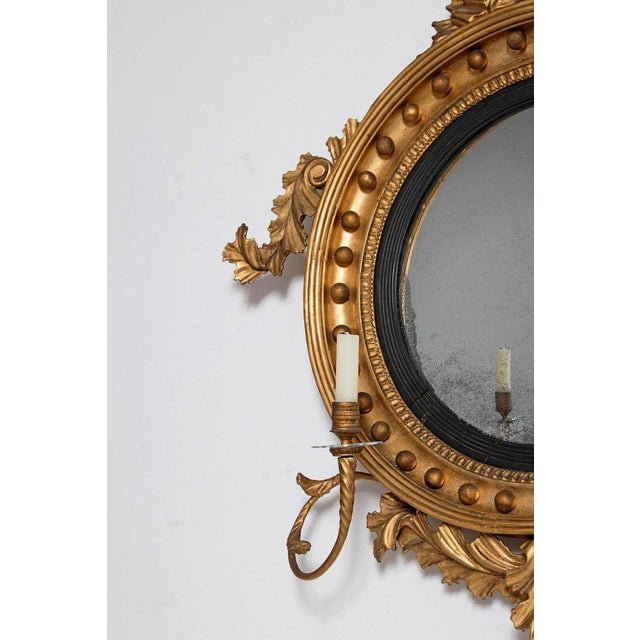 Gold 18th Century George III Gilt-Wood Convex Girandole Mirror For Sale - Image 8 of 13