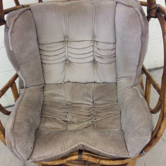 Groovy 70s Bamboo Egg Swivel Chair For Sale In Richmond - Image 6 of 12