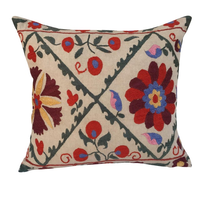 Antique Embroidered Suzani Pillow - Image 1 of 7