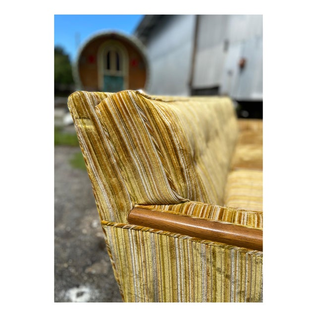 Mid-Century Modern Yellow Striped Variegated Velvet Sofa For Sale - Image 11 of 13