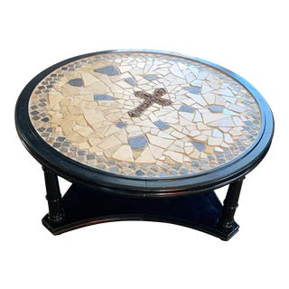 Cross Mosaic Tile Round Table For Sale