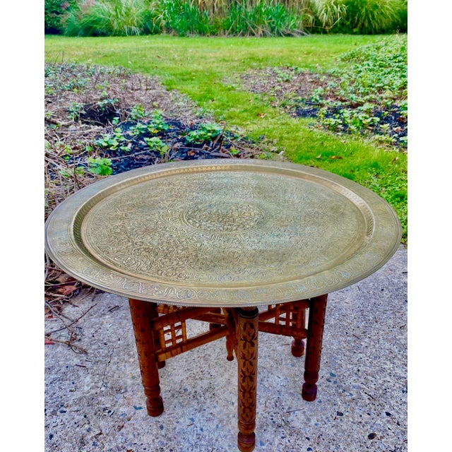 1970s Moorish Chic Moroccan Engraved Brass Tray Table For Sale - Image 5 of 8