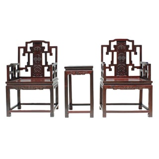 Vintage Chinese Reddish Brown Rosewood Carved Armchair Set For Sale