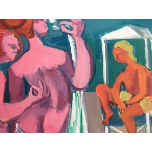 """George Conrand """"The Bathers"""" Oil on Canvas - Image 4 of 7"""