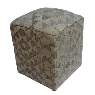 Arshs Doretha Tan/Gray Kilim Upholstered Handmade Ottoman For Sale