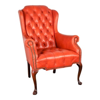 Orange Tufted Leather Queen Anne Mahogany Armchair