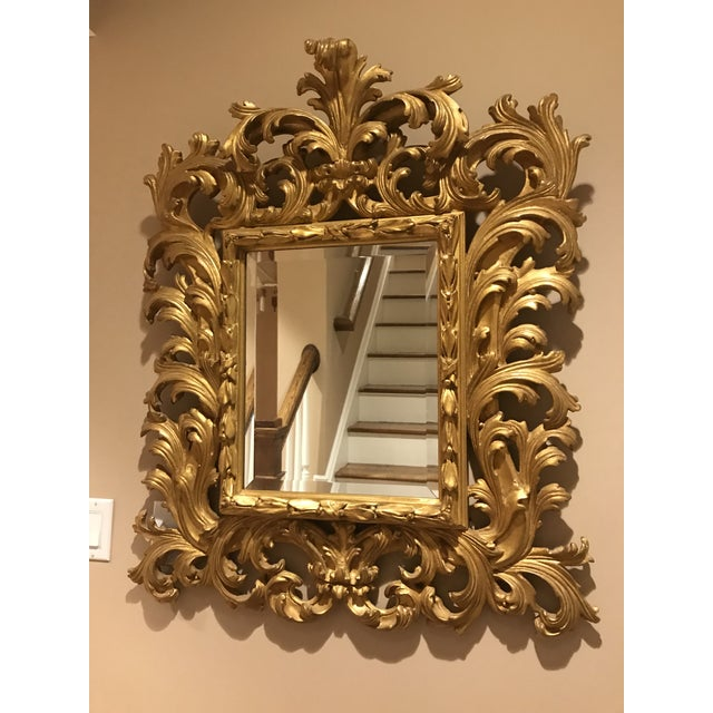 2000 - 2009 Antiqued Art Deco Gold Brocade Wall Mirror For Sale - Image 5 of 11