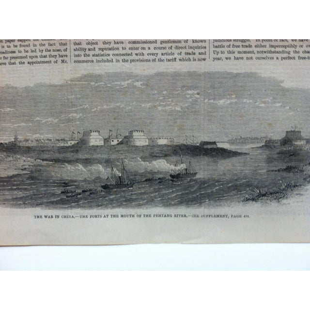 """1860 Antique Illustrated London News """"The War in China: The Forts at the Mouth of the Pehtang River"""" Print For Sale - Image 4 of 5"""