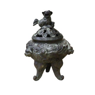 Chinese Oriental Distressed Bronze Metal Incense Burner Display