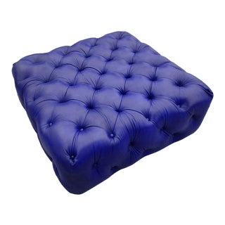 Ann Arbor Blue Leather Fully Tufted Ottoman For Sale