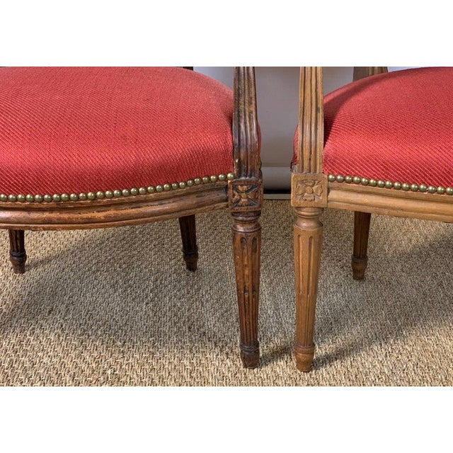 Pair of French Louis XVI Beechwood Fauteuils For Sale - Image 9 of 12