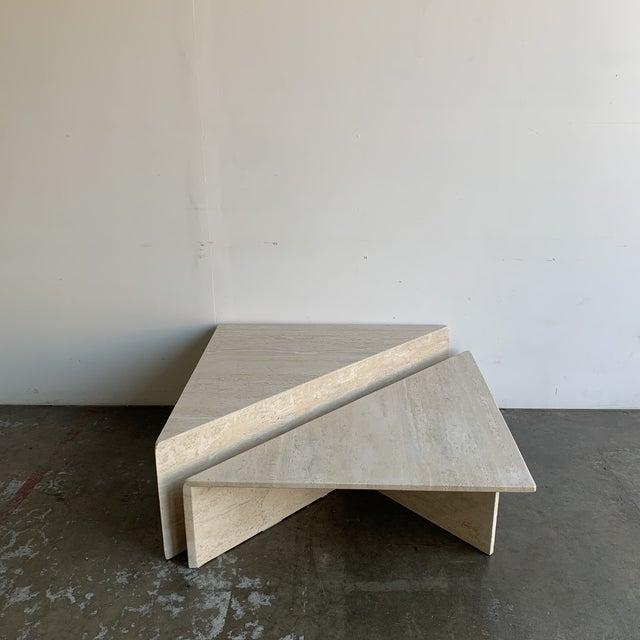 Travertine Triangular Coffee Tables-A Pair For Sale - Image 4 of 13