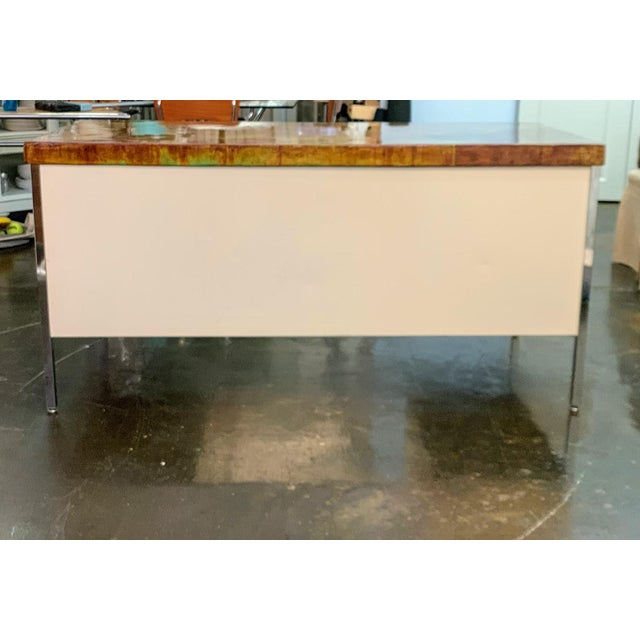 Industrial Vintage Allsteel Executive Tanker Desk With Custom Stained Concrete Top in Warm Tones For Sale - Image 3 of 7