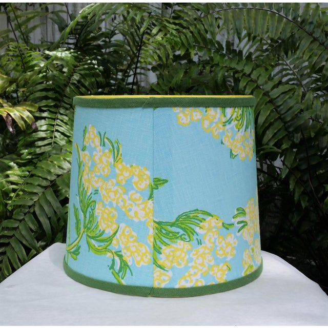 Metal Lilly Pulitzer Fabric Blue Floral Blue Green Yellow Tropical Lampshade For Sale - Image 7 of 12