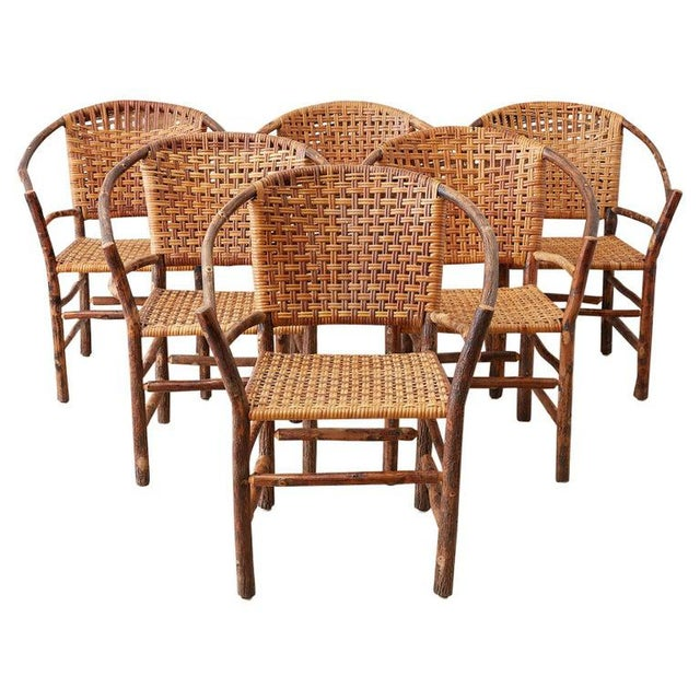 Set of Six Old Hickory Twig Hoop Adirondack Armchairs For Sale - Image 13 of 13