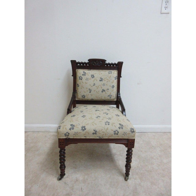 Traditional Antique Victorian Carved Walnut Lounge Chair For Sale - Image 3 of 10