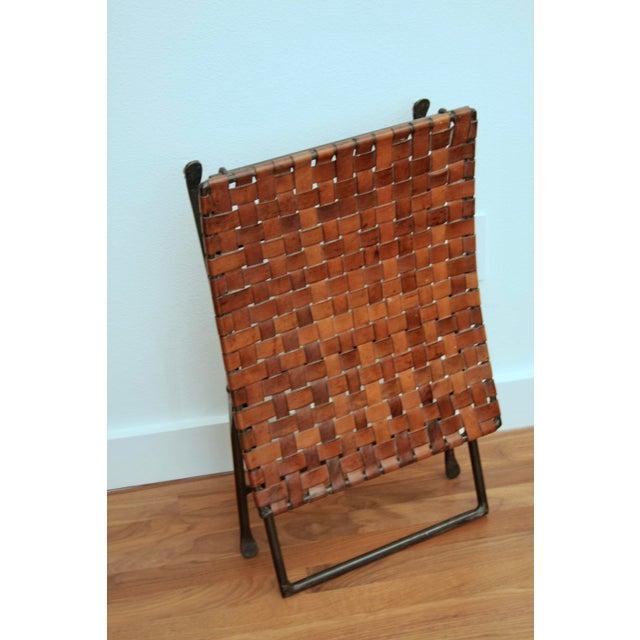 Animal Skin Leather and Iron Folding X-Base Ottoman / Stool For Sale - Image 7 of 12