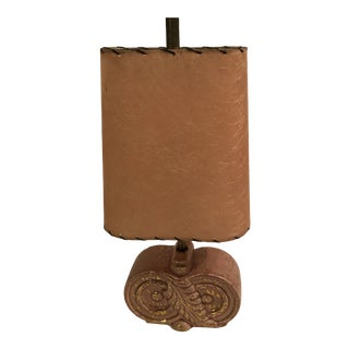"""Pink & Gold Mid-Century Modern Table Lamp Original Hard Shade With """"Spaghetti"""" Design For Sale"""