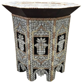 Moroccan White Mother-Of-Pearl Side Table For Sale